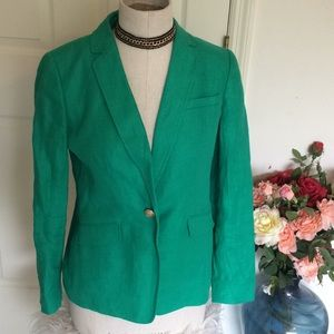 COPY - Talbots green linen blazer with gold butto…